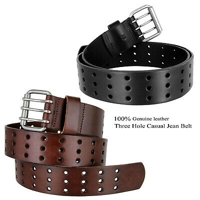 "BS200 Three Hole Genuine Leather Casual Jean Belt, 1-3/4"" wide"