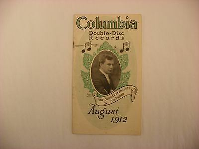 Original Columbia Phonograph Disc Record Catalog August, 1912 Form M 478-6-12