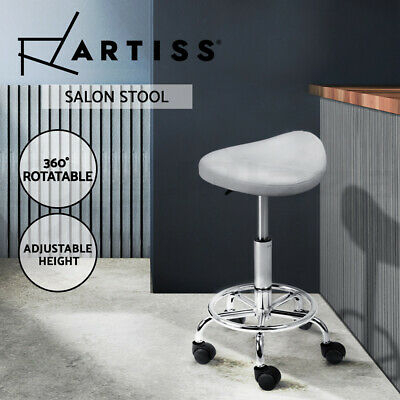 SADDLE Salon Stool White PU Swivel Barber Hair Dress Chair Hydraulic Lift