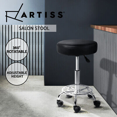 ROUND Salon Stool Black PU Swivel Barber Hair Dress Chair Hydraulic Lift