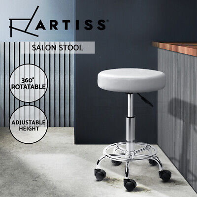 ROUND Salon Stool White PU Swivel Barber Hair Dress Chair Hydraulic Lift