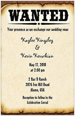 Wedding Invitations Country Western Cowboy Boots Personalized