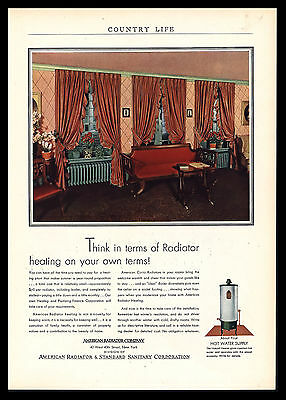 Antique Original 1930 American Radiator Vintage Advertising Art Print Ad