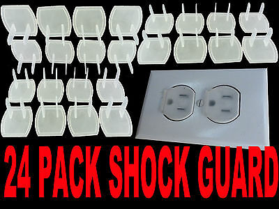 24 Piece Safety Electric Outlet Plug Protector Cover Child Proof Shock Guard  US