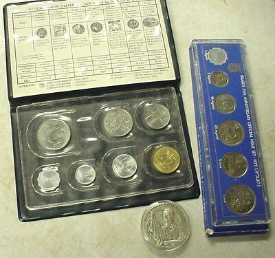 Collection Of Israel 1979 & 1973 Coin Sets Plus Medallic Art Sterling Round