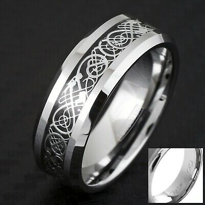 8mm Tungsten Silver Celtic Dragon Inlay Mens Ring Wedding Band Size 8-14 GOT TW