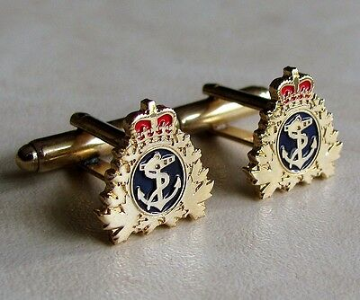 Canada - RCN Royal Canadian Navy Naval  Operation Gold Plated Anchor Cuff Links