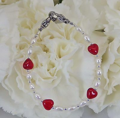 White Pearl Red Heart Medical ID Alert Replacement Bracelet!  Free Shipping!