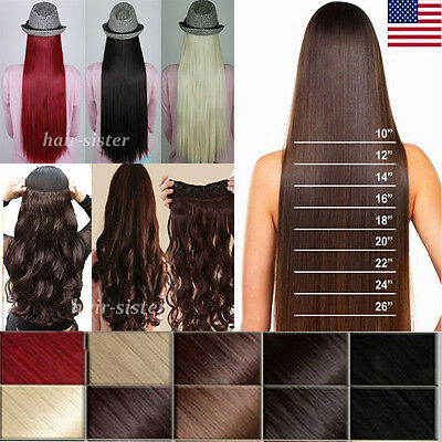 Long Women Curly Wavy Straight Clip in on Hair Extensions 5 Clips 30 Colors st95