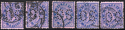 1901 - 1910 VIC Victoria Australia QV 2/- Blue Pink Postage OS Perfin REF:OS035