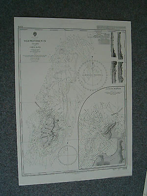 Vintage Admiralty Chart 1334 WEST INDIES - OLD PROVIDENCE ISLAND 1912 edn