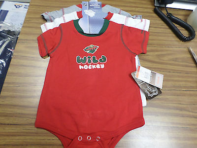 NWT NHL Minnesota Wild 3 piece Creeper / BODY SUIT Set - Infants & Toddlers