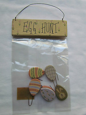 Small wooden EASTER EGG ornaments  Egg Hunt  sign Collins ~ RO-763 Bunny 7pc NEW