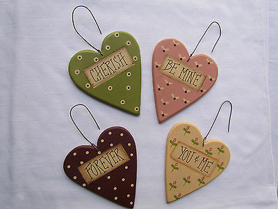 wooden Heart Ornaments + Forever & Always sign Collins ~ RO-230 5pc NEW cherish