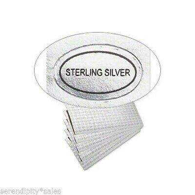 "500 Peel Off Adhesive LABELS tags~ Oval 1/2"" x 5/16""  Marked ""STERLING SILVER"""