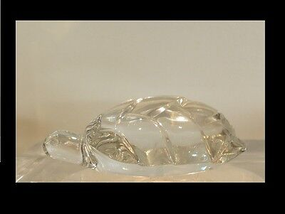 Rare Signed Baccarat French Crystal Turtle Sculpture Hand Cooler