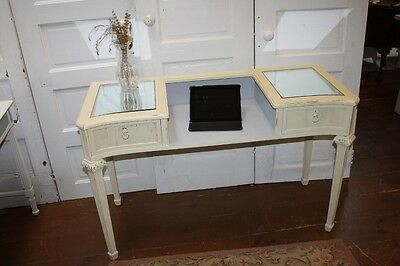 Painted Antique French Desk or Vanity Lion Handle Pulls Cream Grey Fluted Sides