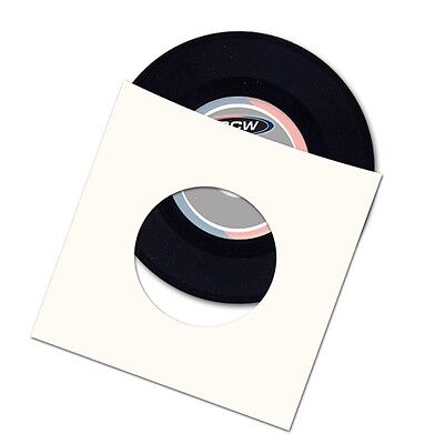 """(50) BCW 7"""" Paper Record Album Inner Sleeves 45 RPM w/ Hole - Virgin Paper"""
