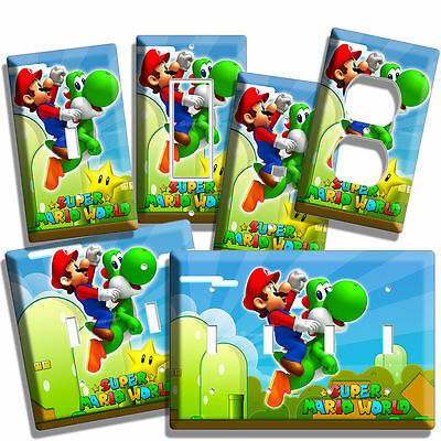 Super Mario Bros Yoshi Light Switch Outlet Wall Cover Plate Boy Girl Game Room