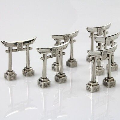 Novelty Japanese Set Of 6 Silver Torii Gate Menu Card Name Holders Japan Ca 1920