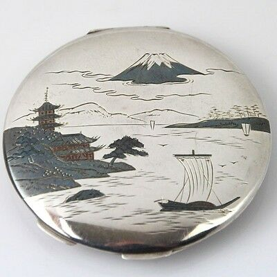Japanese 950 Sterling Silver Pagoda Fuji Powder Case Compact Japan Ca 1920