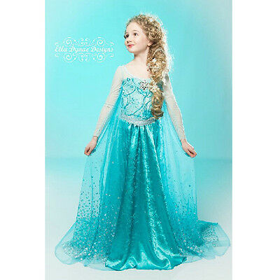 FROZEN DRESS Blue ELSA ANNA PRINCESS DRESS KIDS COSTUME PARTY FANCY SNOW QUEEN