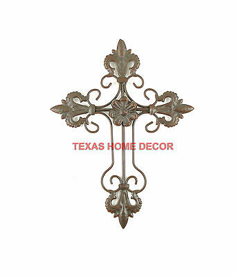 Fleur De Lis Wall Cross Metal Scrolls Center Flower Dark Brown Finish 9 ½ x 7 ½