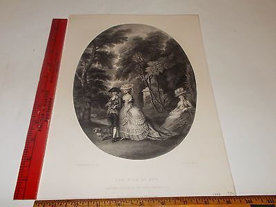 Rare Antique Original VTG 1856 Romance Love The Walk At Kew Engraving Art Print