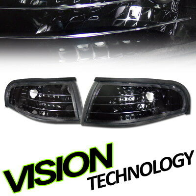Blk Clear Turn Signal Parking Corner Lights Pair K2 94-98 Ford Mustang Gt Cobra