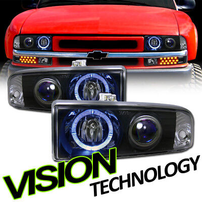 Black Clear Halo Projector Headlights Headlamps KS 98-04 Chevy S10 Blazer/Pickup