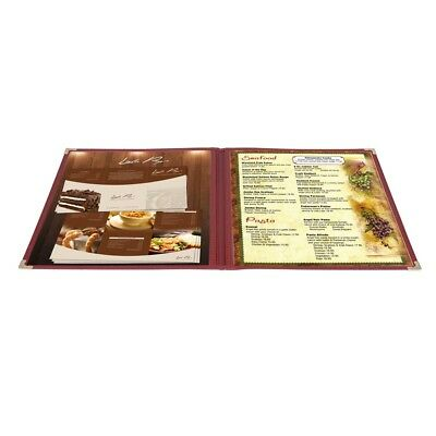 30 Nontoxic Menu Cover 8.5x11 2 Page 4 View Double Fold Stitch Corner Restaurant