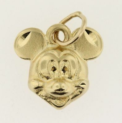 Vintage Cute Authentic Disney 14k Yellow Gold Mickey Mouse Head Pendant Charm