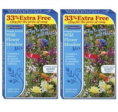 2 x Chatsworth Simply Scatter Wild Flower Seed Mix Wild Meadow Mix 200g