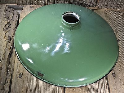"Old Green Reflector porcelain light shade gas station vintage 14"" good condition"