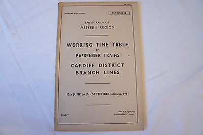 Working Timetable Western Region 1961 Cardiff District Section G Branch Lines