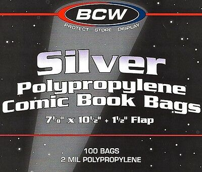 100 Silver Comic Bags and Backing Boards NEW Archival Book Storage