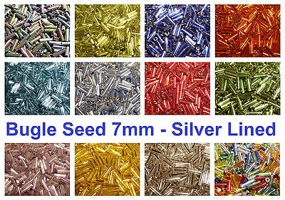 20g 600pc+ Glass Bugle Seed Silver Lined Beads 7mm - Many Colours
