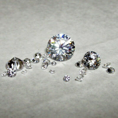 White Clear Round Brilliant Loose Cubic Zirconia, size and quality choice