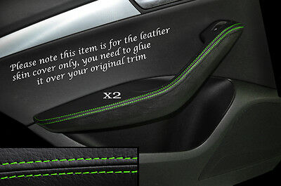 Green Stitch 2X Rear Door Handle Armrest Skin Covers Fits Audi Q5 2008-2014