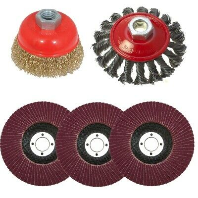 5pc Flap Disc Twist Knot Semi Flat Wire Wheel Cup Brush For 115mm Angle Grinder