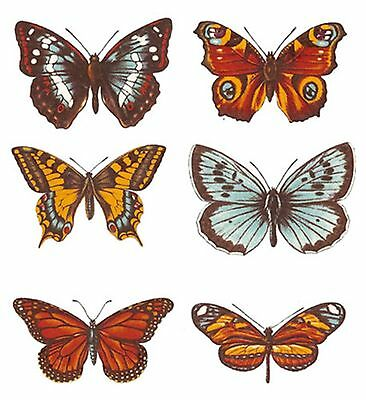 Set of 6 Butterfly Butterflies Select-A-Size Waterslide Ceramic Decals Bx