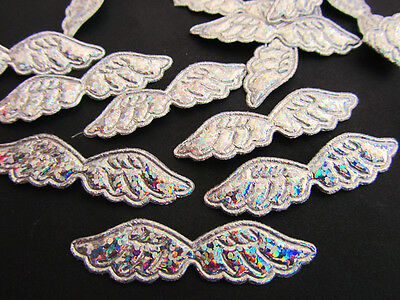 50 Silver Shimmer Reindeer Craft Applique//Christmas//trim//padded//bow H13-Hologram