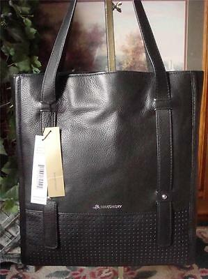 NWT~M. MAKOWSKY ~ MED-LG BLACK PEBBLED & PERFORATED LEATHER TOTE BAG~ MRSP: $288