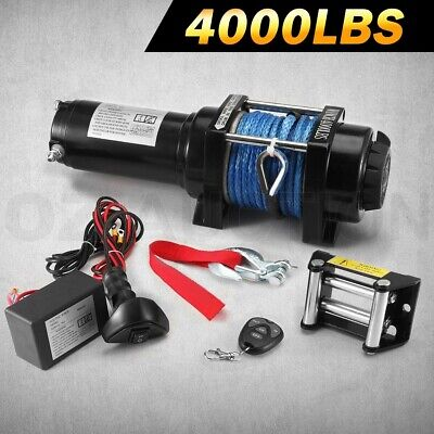 12V 4000LBS/1800KGS Wireless Electric Winch Synthetic Rope ATV 4WD Boat