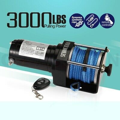12V 3000LBS/1325KGS Wireless Electric Winch Synthetic Rope ATV 4WD Boat