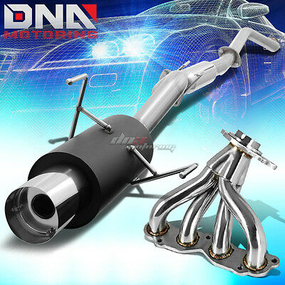 "4"" Black Catback Exhaust System + Ss 304 Header Manifold For 02-06 Rsx Non S"