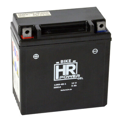HR Bike Power 12V 9Ah GEL Motorradbatterie 12N9-4B-1 YB9-B CB9-B 50914