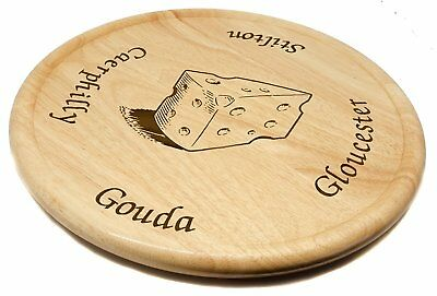 Any Message Laser Engraved Personalised Rubberwood Lazy Susan Cheese Board