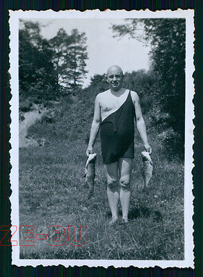 vintage photo MAN IN BATHING SUIT POSING W/ CATCHED FISH FISHER FISHING 1930s