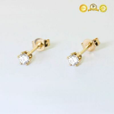 0.10 ctw  Round Cut Diamonds Stud Earrings 14k Yellow Gold NATURAL GEMSTONE